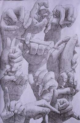 American Sign Language Drawing - 9 Hands by David Pry