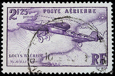Areoplanes Photograph - old French postage stamp by James Hill
