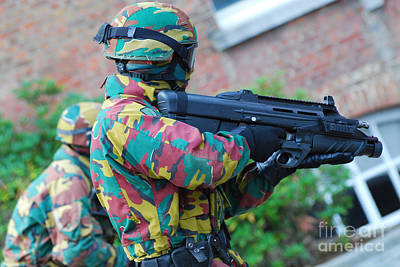 A Belgian Paratrooper  Handling The Fn Print by Luc De Jaeger