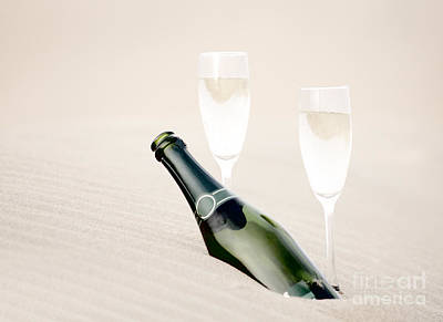 A Bottle Of Champagne With Two Glasses Print by Iryna Shpulak
