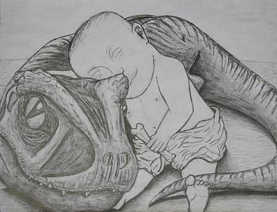 T Rex Drawing - A Boy And His Dog by David Pry