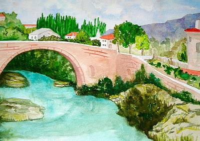 Water Painting - A Bridge In France by Sharon Mick