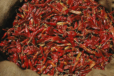 A Burlap Bag Full Of Red Hot Peppers Print by James P. Blair