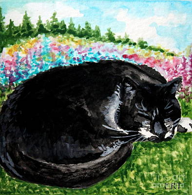 Cat Painting - A Cat Nap In The Meadow by Elizabeth Robinette Tyndall