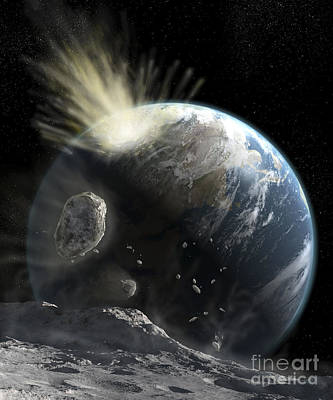 Collision Of Worlds Digital Art - A Catastrophic Comet Impact On Earth by Steven Hobbs