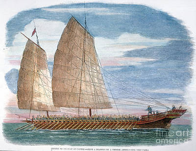 Ching Dynasty Photograph - A Chinese Junk by Granger