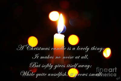 A Christmas Candle Greeting Print by Nishanth Gopinathan