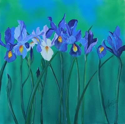 Print Of Irises Painting - A Clutch Of Irises by Almeta LENNON