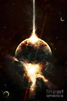 Collision Of Worlds Digital Art - A Concentrated Gamma Ray Strikes by Tomasz Dabrowski