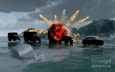 Destruction Digital Art - A Convoy Of Military Vehicles With One by Mark Stevenson
