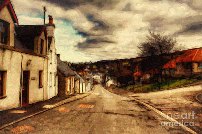 Sepia Flowers Digital Art - A Cotswold Village by Lianne Schneider