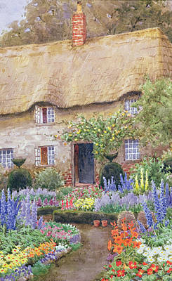 Chimneys. Flowers Painting - A Cottage Garden In Full Bloom by John Henry Garlick