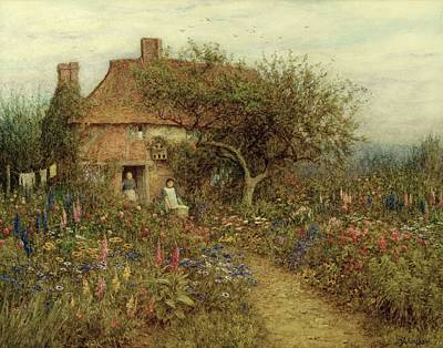 Surrey Painting - A Cottage Near Brook Witley Surrey by Helen Allingham