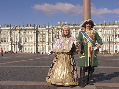 Historical Reenactments Photograph - A Couple Dress As Catherine The Great by Richard Nowitz