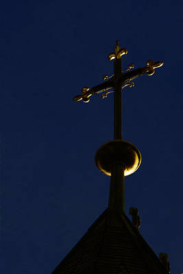 Blue Photograph - A Cross On St Vitus Cathedral Prague by Christine Till
