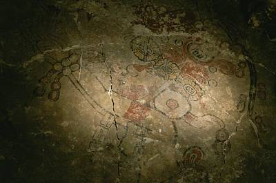A Detail Of A Mayan Mural Featuring Print by Kenneth Garrett