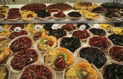 A Display Case Full Of Fruit Pastries Print by Gordon Wiltsie