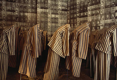 Auschwitz Photograph - A Display Of Photographs And Uniforms by James L. Stanfield