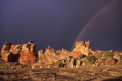 A Double Rainbow After A Storm Over An Print by Ira Block
