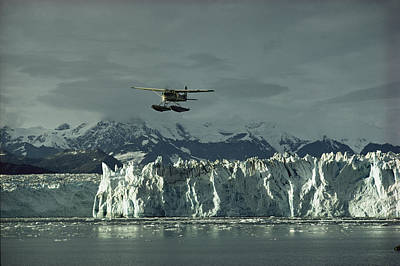 Transportation Of Goods Photograph - A Floatplane Traverses Columbia Glacier by George F. Mobley