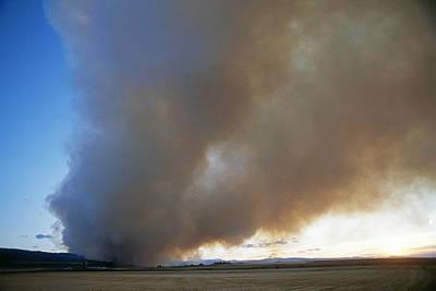 A Forest Fire Burns In The Gallatin Print by Gordon Wiltsie
