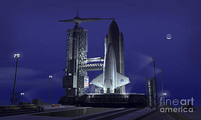 Terrene Digital Art - A Futuristic Space Shuttle Awaits by Walter Myers