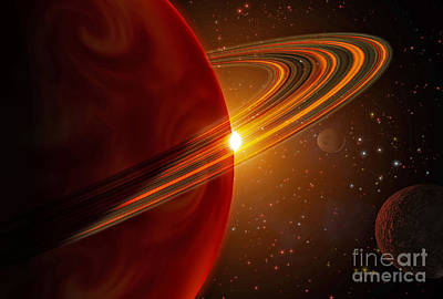 Planetary System Digital Art - A Giant Planet Orbiting The Sun-like by Stocktrek Images
