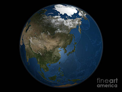 Terrestrial Sphere Photograph - A Global View Over Asia With Arctic Sea by Stocktrek Images
