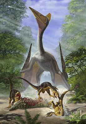 A Group Of Balaur Bondoc Dinosaurs Print by Sergey Krasovskiy