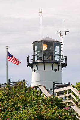A Hawk Sits Next To Weather Instruments On Top Of Chatham Lighth Print by Matt Suess