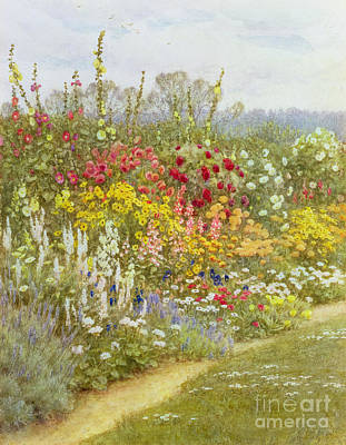 Hollyhock Painting - A Herbaceous Border by Helen Allingham
