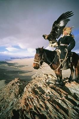 A Hunter On Horseback Atop A Hill Print by David Edwards