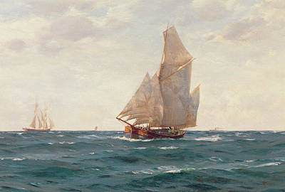 Clear Sky Painting - A Ketch And A Brigantine Off The Coast by Thomas J Somerscales