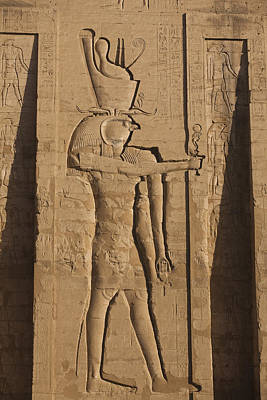 Ankh Photograph - A Large Relief Of The God Horus by Taylor S. Kennedy