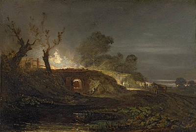 Horse And Cart Photograph - A Lime Kiln At Coalbrookdale by Joseph Mallord William Turner
