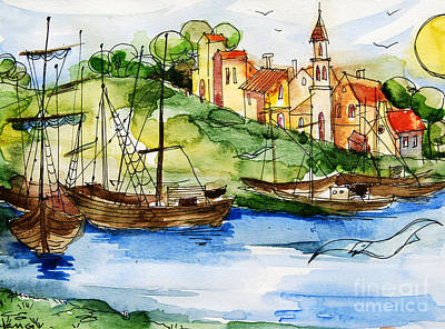 Harbor Painting - A Little Fisherman's Village by Mona Edulesco
