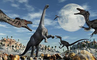 A Lone Camarasaurus Dinosaur Print by Mark Stevenson