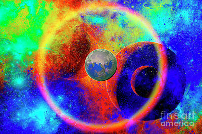 Planetary System Digital Art - A Lone Rough Planet Travelling by Mark Stevenson