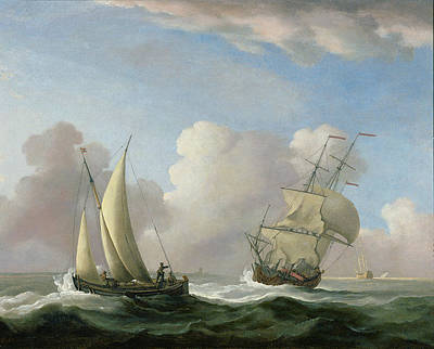 A Man-o'-war In A Swell And A Sailing Boat Print by Peter Monamy