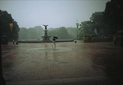 Angel Island State Park Photograph - A Man Scurries Across Bethesda Terrace by Melissa Farlow