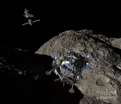Constellation Digital Art - A Manned Asteroid Lander Descends by Walter Myers