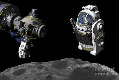 Constellation Digital Art - A Manned Maneuvering Vehicle Prepares by Walter Myers