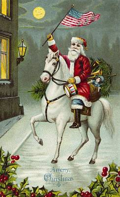 St. Nicholas Painting - A Merry Christmas Card Of Santa Riding A White Horse by American School