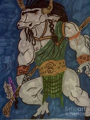 Minotaur Drawing - A Minotaur  by Charita Padilla