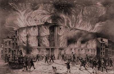 A Mob Set Fire To The Pennsylvania Print by Everett