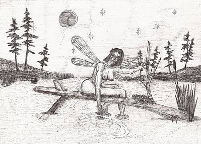 Drawing - A Moment With The Moon... - Sketch by Robert Meszaros
