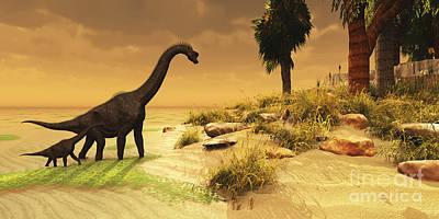 Caring Mother Digital Art - A Mother Brachiosaurus Dinosaur by Corey Ford