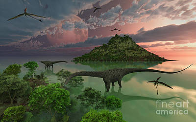 A Pair Of Diplodocus Dinosaurs Print by Mark Stevenson
