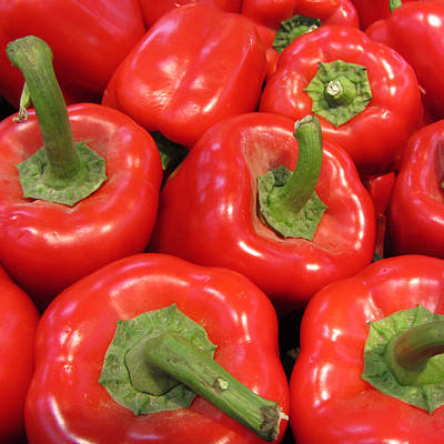 A Peck Of Red Peppers Print by Kathy Clark