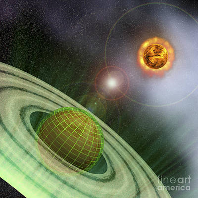 Sun Rays Digital Art - A Planet In The Future Is Surrounded by Corey Ford
